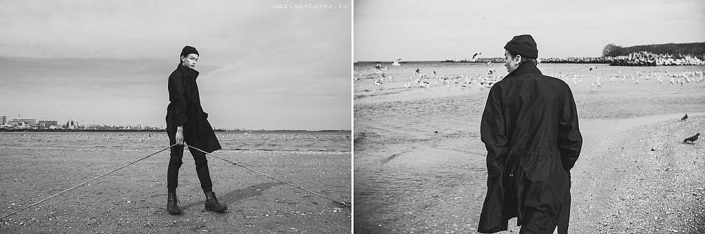 Fotografie alb negru pe malul marii